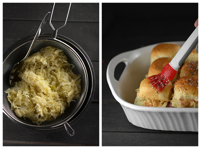 Picture of draining sauerkraut and picture of buttering sliders