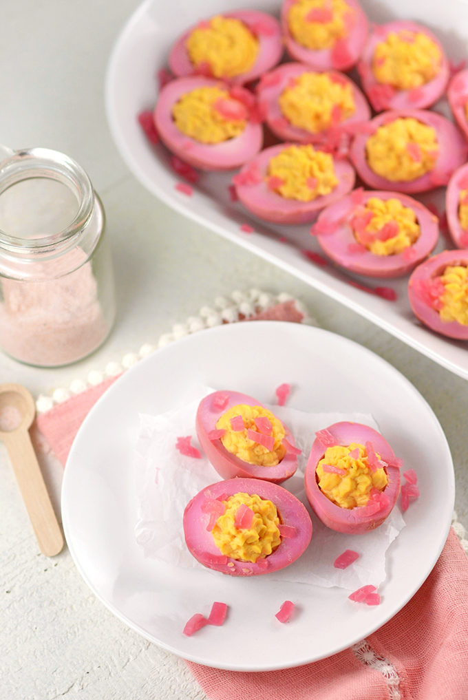 Plate with Deviled Pickled Red Beet Eggs