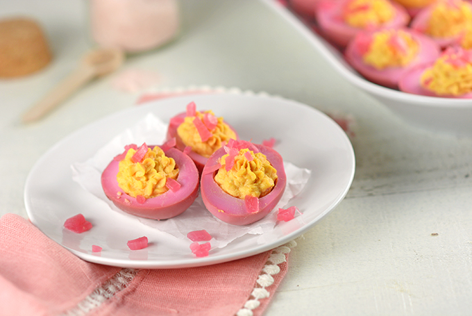 Horizontal Picture Deviled Pickled Red Beet Eggs