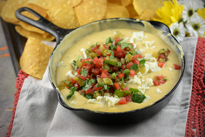 Homemade Queso in a skillet