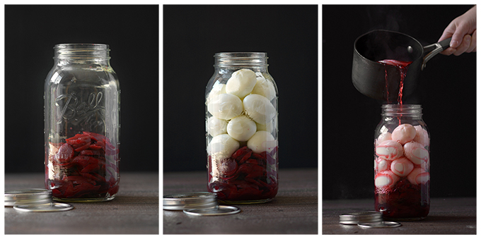 Three Pictures Showing Filling a Jar with with Beets, Eggs, and Syrup