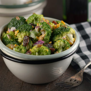 Square Photo of a Bowl of Broccoli Salad