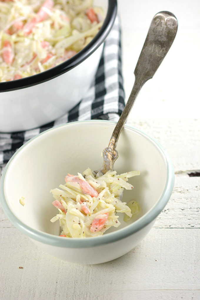 Homemade Coleslaw in a small bowl