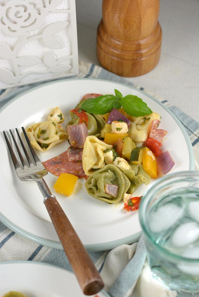 Tortellini Pasta Salad with Roasted Summer Vegetables and Basil Vinaigrette