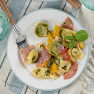 Tortellini Pasta Salad with Roasted Summer Vegetables and Basil Vinaigrette