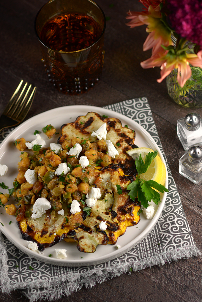Grilled Patty Pan Squash with Spiced Chickpeas