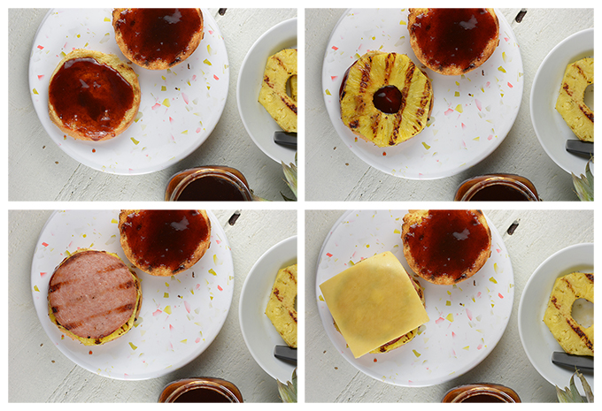 Step by step photos of assembling Hawaiian Pork Roll Sandwiches