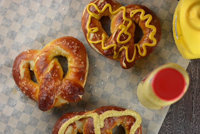 homemade soft pretzels with mustard