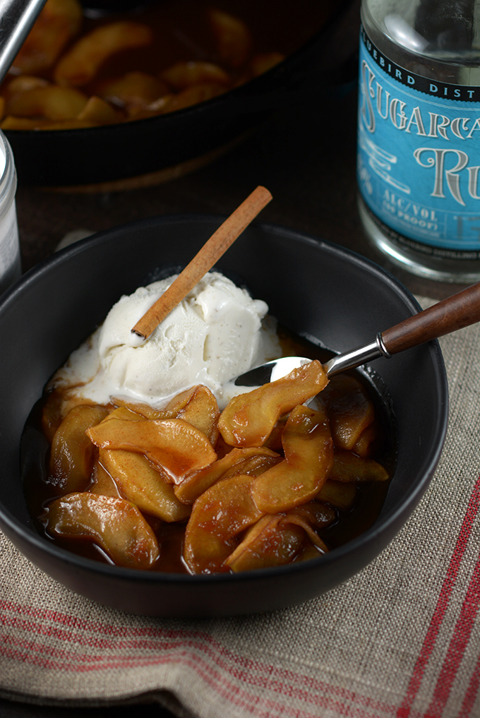 Bowl of Southern Fried Apples with Ice Cream