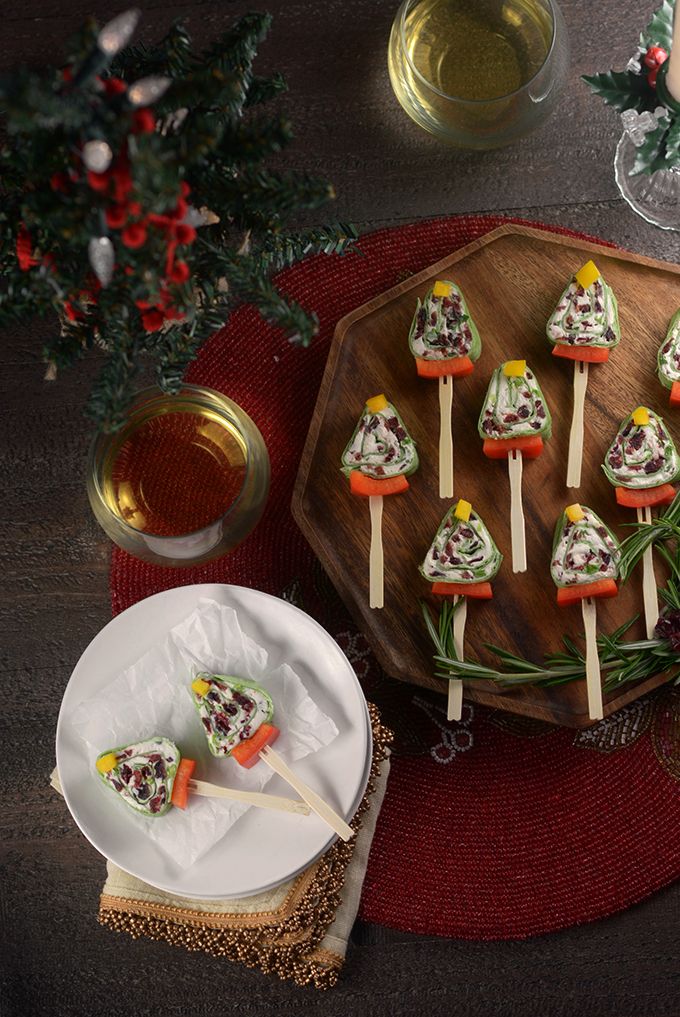 Cranberry Christmas Tree Roll Up Pinwheel Sandwiches