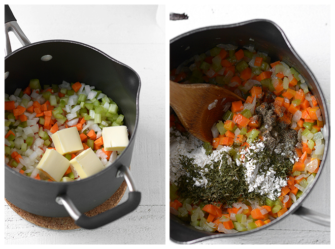 Cooking Vegetables for Cauliflower Soup