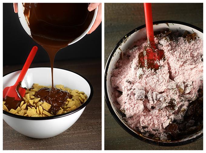 Making Chocolate Strawberry Chex