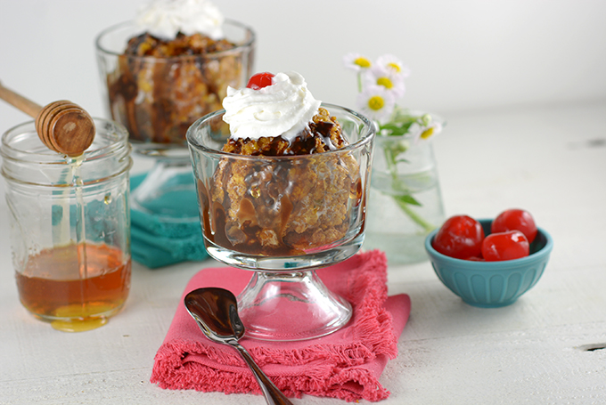 No-Fry Fried Ice Cream with flowers, honey, and cherries