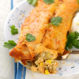 Loaded Creamy Chicken and Poblano Enchiladas