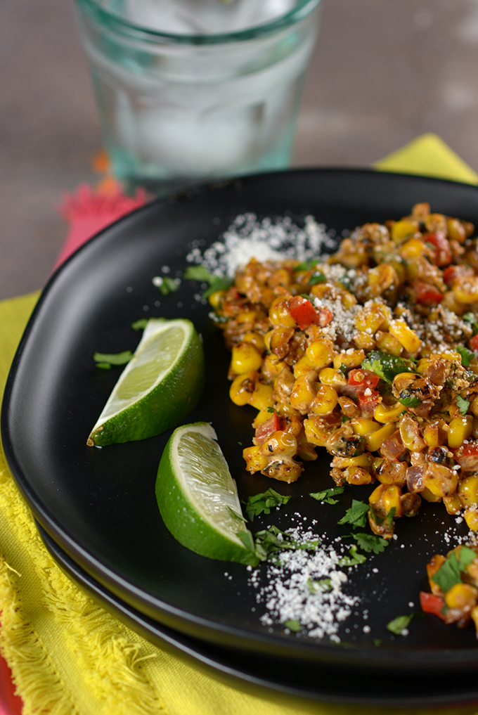 Closeup of Loaded Skillet Mexican Street Corn on a plate