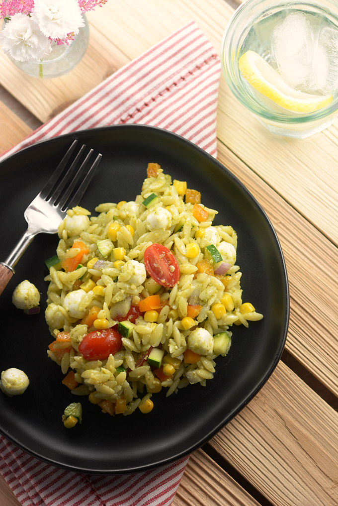 Pesto Orzo Pasta Salad