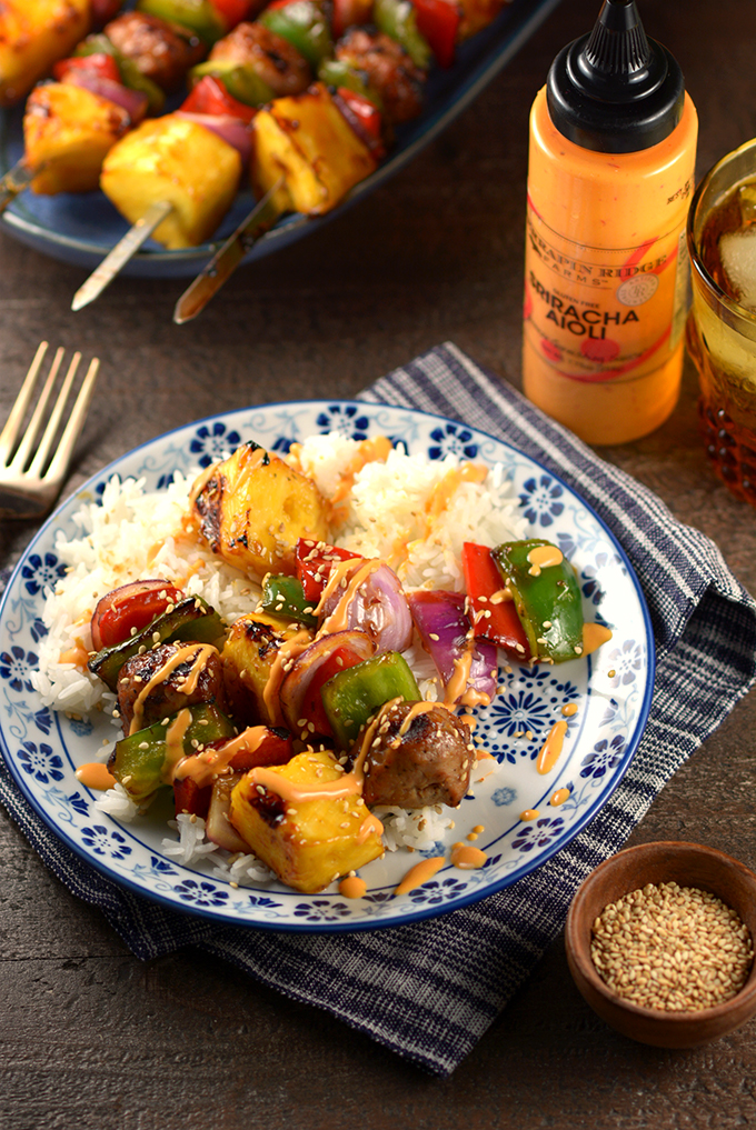 Plat of Teriyaki and Pineapple Chicken Meatball Kebabs