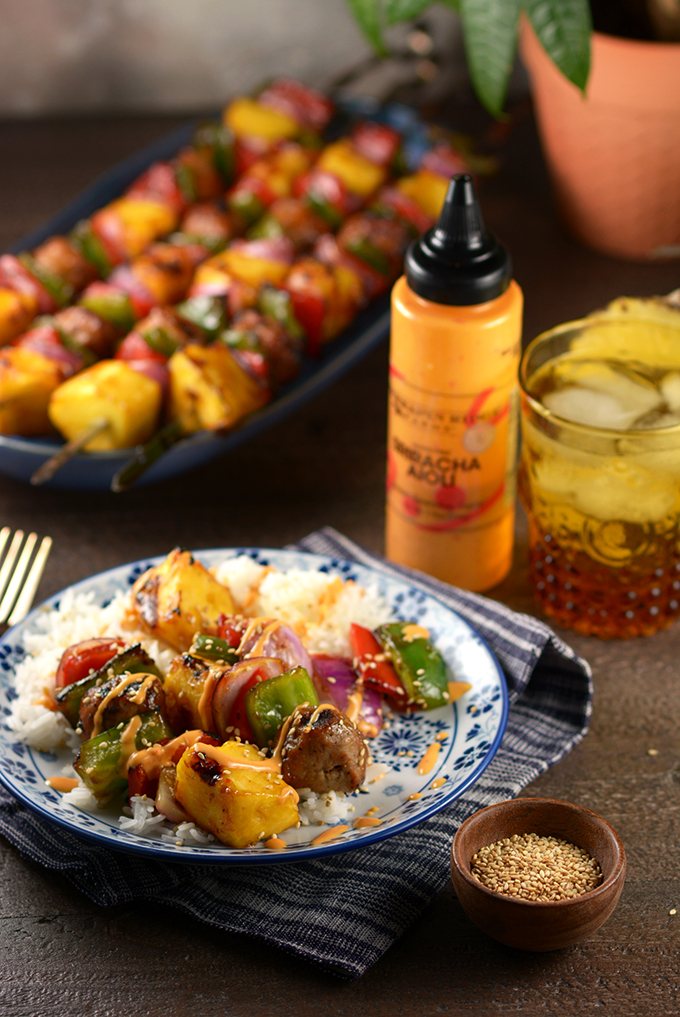 Table with Teriyaki and Pineapple Chicken Meatball Kebabs