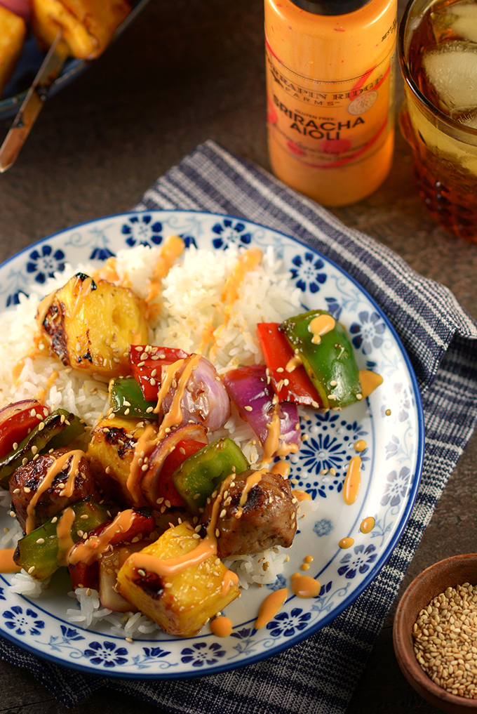Plate of Teriyaki and Pineapple Chicken Meatball Kebabs