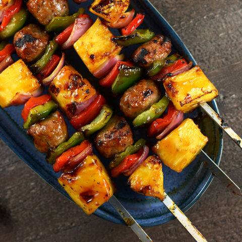 Teriyaki and Pineapple Chicken Meatball Kebabs